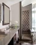 A 3 dimensional glass tile that makes an awesome shower feature wall