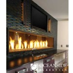 3d glass tile on fireplace