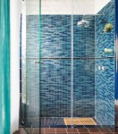 Hand crafted glass tile for the shower in Vancouver