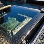 Outdoor pool glass tile